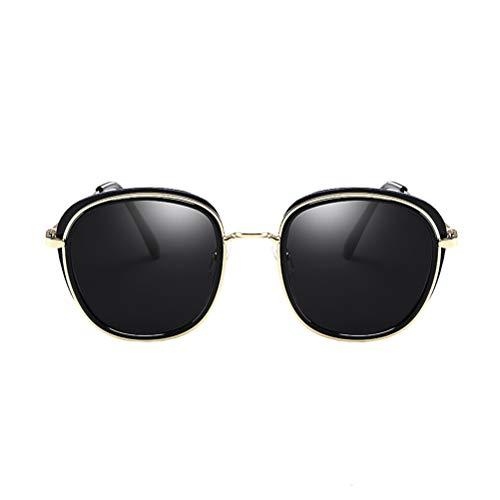 LIOOBO LIOOBO Runde Sonnenbrillen für Frauen Retro Brand Polarized Sonnenbrillen (schwarzer Rahmen mit schwarzer Linse)