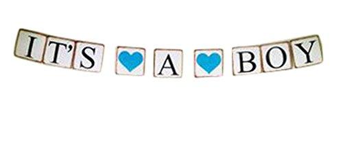 Demarkt slinger met wimpelketting, papieren vlaggen, bruiloft, verjaardag, feest, decoratie, BACHELO RETTE met 2 harten 13 x 13 x 300 cm It''s A Boy met 2 harten