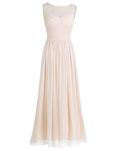 iEFiEL Damen Abendkleider elegant Hochzeitskleid Cocktailkleid Chiffon Festlich Festkleid Langes Brautjungfernkleid 34-46 Aprikose 36