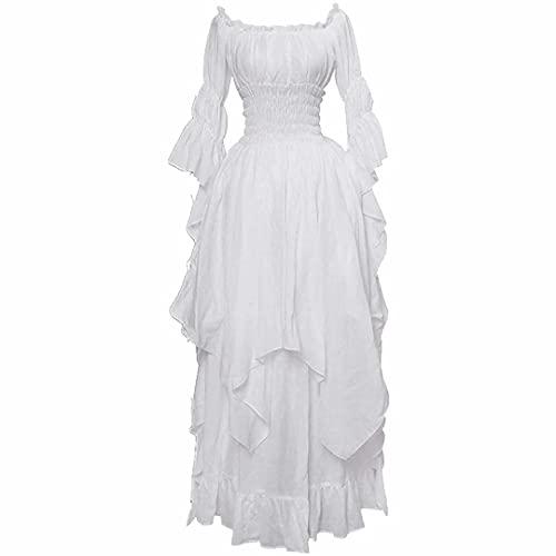 Vestidos góticos de Halloween para Mujer Cosplay Medieval Vintage Renaissance Cinch Corset Cintura elástica Vestido de Fiesta Manga abullonada Fuera del Hombro Traje de Princesa