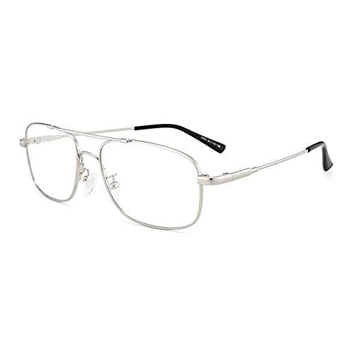 EYEphd Gafas de Lectura bifocal fotocrómica, Hoja de Resina aspérica de Alta definición / UV400 / Lector Anti-deslumbramiento Retro Gafas de Sol Piloto Retro Ampliación +0.75 a +3.0,Plata,+1.5