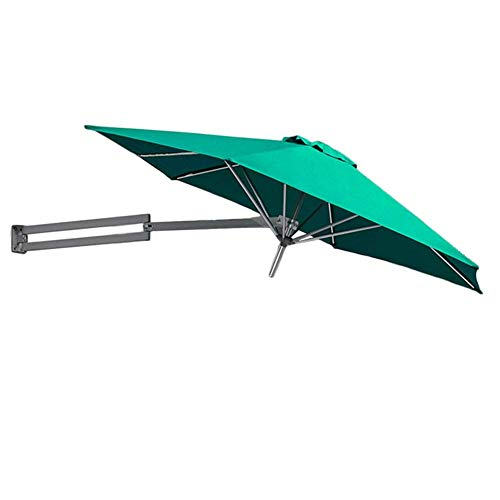 Parasols Green Wall-Mounted with Metal Pole - Outdoor Garden Patio Wall Mount Sunshade Umbrella with Tilt Adjustment, 8ft / 250cm