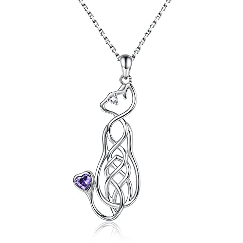 Sterling Silver Celtic Animal Necklace - Horse Cat Giraffe Bunny Rabbit Pendant Celtic Knot Jewelry Gift for Women Teens Girls Animal Lovers (Cat)