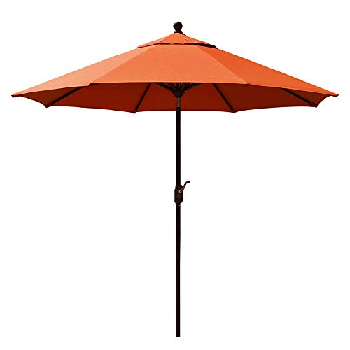 EliteShade Sunbrella 9Ft Market Umbrella Patio Outdoor Table Umbrella with Ventilation and 5 Years Non-Fading Top,Rust
