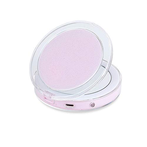 Miroir de Maquillage LED, Miroir de Maquillage Multifonction Rechargeable USB Portable, Miroir de Maquillage Intelligent Pliable, Miroir de Maquillage Trois en Un, loupe