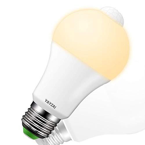 YAYZA! 1-Pack Premium Bombilla de Luz de Seguridad LED E27 10W con Sensor de Movimiento PIR incorporado, Bombilla con Sensor Fotocélula 1000lm 100W Equivalente 3000K Blanco Cálido