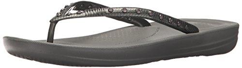 FitFlop Women's Iquishion Crystal Ergonomic Flip Flops Slide Sandal, Charcoal Grey, 5 M US