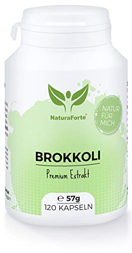 NaturaForte Brokkoli Extrakt 120 Kapseln – Hochdosiert Broccoli-Sprossen Extract, 73mg bioaktives Sulforaphan pro Tagesdosis, Vegane Kapseln, Abgefüllt und hergestellt in Deutschland
