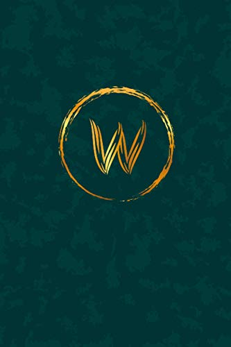 W: Letter W with gold design and green background