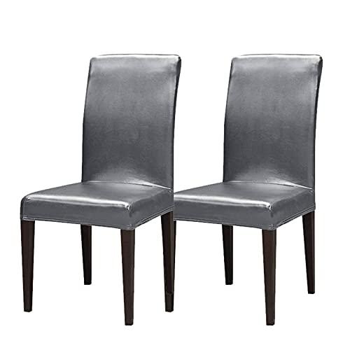 wasserdichte Stuhlhussen, Leder Stuhlschoner leicht zu reinigen Langlebige Universal Stuhlhussen für Esszimmer Hochzeit Hotel Bankett Zeremonie-grau-2