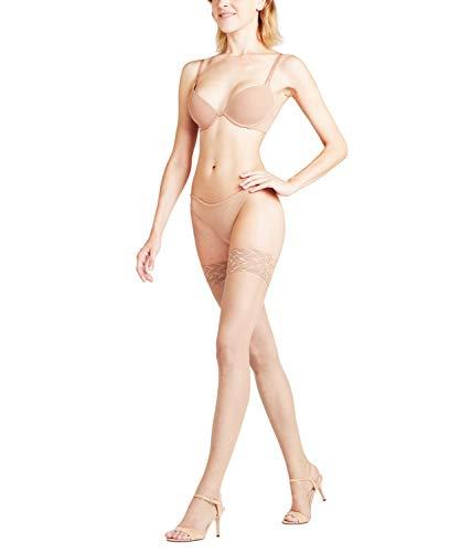 FALKE Damen Stay Ups Shelina 12 Denier Toeless - Ultra-Transparente, 1 Paar, Beige (Powder 4169), Größe: M