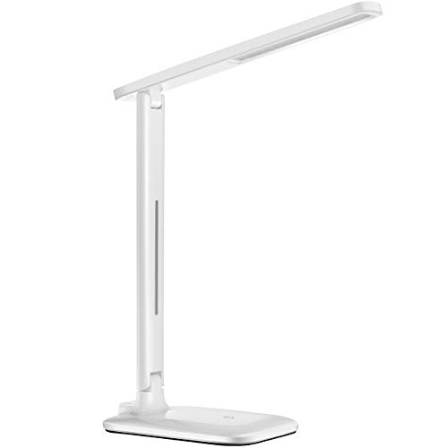 Schreibtischlampe LED TOPELEK 42 LED Tischlampe, 3 Farb- und 3 Helligkeitsstufen, Tischleuchte mit Touch Control-Taste, Farbtemperatur Speicherfunktion für Büro, Lesen, Studieren, Weiß