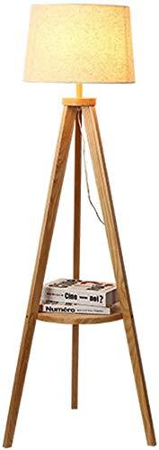 WLP-WF Trípode de Madera Etagere Lámpara de Pie Tela de Lino Estante de Pantalla Luces de Lectura para Sala de Estar Dormitorio Sala de Estudio, E27