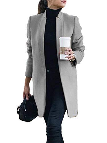 Onsoyours Damen Mantel Trenchcoat Mit Gürtel Mantel Revers Faux Für Lose Langarm Outwear Tasche Reißverschluss Winterjacke Mode Kurz Coat Wollmantel A Grau L