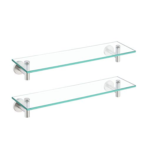 KES Bathroom Glass Shelf Rectangular 20-Inch Floating Glass Shelves 2 Pack with Rustproof Stainless Steel Brackets Wall Mounted Brushed Finish, A2021-2-P2