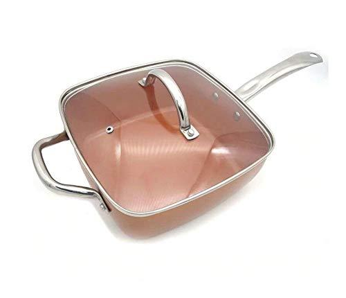 RJJX Home 9,5 Pouce carré Poêle avec Couvercle - poêle avec revêtement en céramique Anti-adhésif.Batterie de Cuisine Parfait for Saute and Grill (Sheet Size : 24cm)
