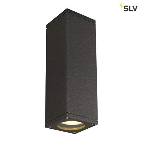 SLV THEO UP/DOWN Wandlamp voor effectieve buitenverlichting van huisingang, muren, paden, terrassen, gevels, trappen | LED-wandlamp, buitenverlichting, tuinlamp | 2x GU10, max. 35 W, EEK tot A++.