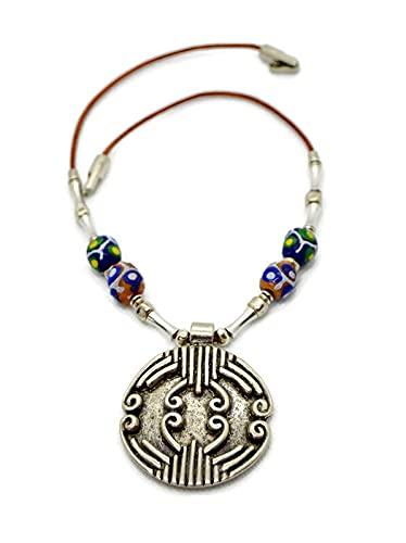 Collar de cuero y colgante plata estilo celta para mujer, regalo único