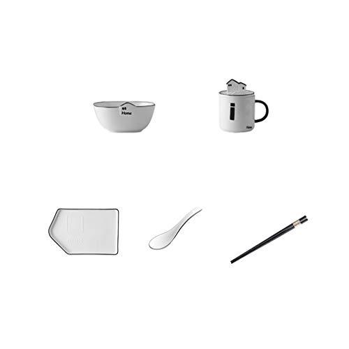 Vaisselle Arts de la Table Japonaise, en céramique Creative Six pièces Ensemble, Japonais Cuvette en céramique, Plaque ménages (Size : Five-Piece)