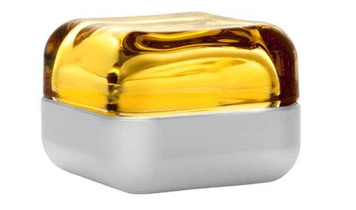 Iittala Vitriini Glasbox 6 cm gelb-hellgrau Glas Aluminium Schatulle