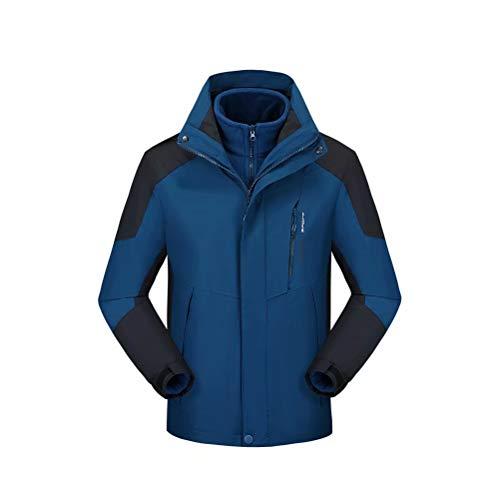 3 en 1 Chaqueta para Hombre Impermeable Forro Polar Abrigos Chaqueta de Esquí con Capucha Azul Marino XL