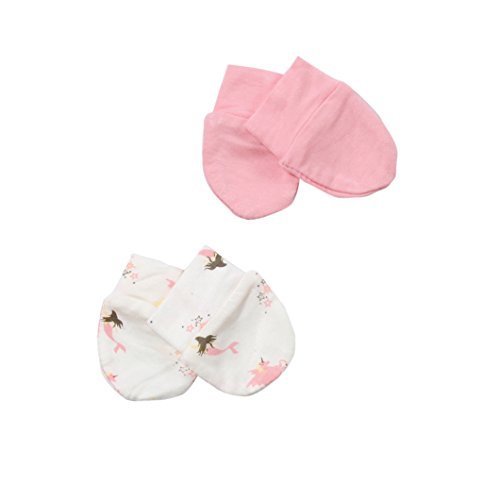 Kyte BABY Unisex-Baby 0-6 months No Scratch Mittens, 2 Pack, Made of Bamboo Rayon (Petal/Mythical)