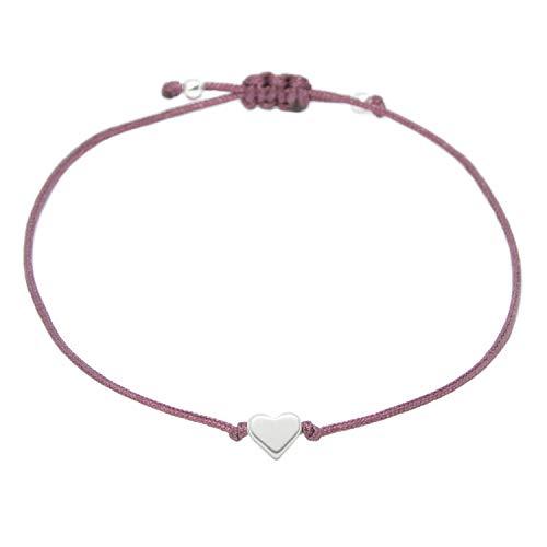Herz Armband Silber - Armbändchen Farbe Beere mit silbernem Herzchen Damen - Größenverstellbar - Handmade Inkl. Geschenkverpackung/Organza Schmucksäckchen