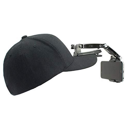 Action Mount Wearable Hat Clip Mount for Hands Free Video, Live Streaming, or Vlogging. Includes Hat Clip, Extension Set, and Locking Phone Holder. Hat Not Included. (3. Pc. Extension Phone Mount)