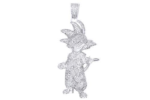 3 Cttw taglio rotondo bianco naturale diamante Super Goku ciondolo in oro massiccio 14ct e Oro giallo, colore: Giallo, cod. MNo-UK-CMP33257-YG-14k
