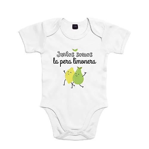 SUPERMOLON Body bebé algodón Mellizos Juntos somos la pera limonera 3 meses Blanco Manga corta