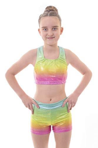 Velocity Dancewear Ensemble haut court et short pour fille idéal pour la gymnastique et les sports d'entraînement Blaze Rainbow 13-14 ans