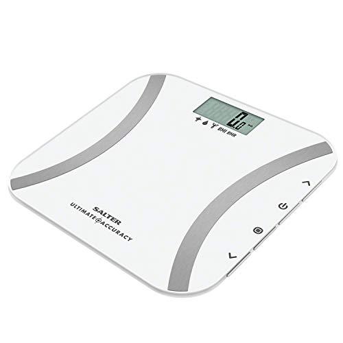SALTER digitale Analysewaage, Elektronische Personenwaage Körperfettwaage mit Messung in 50g Schritten, sofortiges Ablesen von Gewicht, Körperfett, Körperwasser, Muskelmasse, BMI, BMR, Athletenmodus