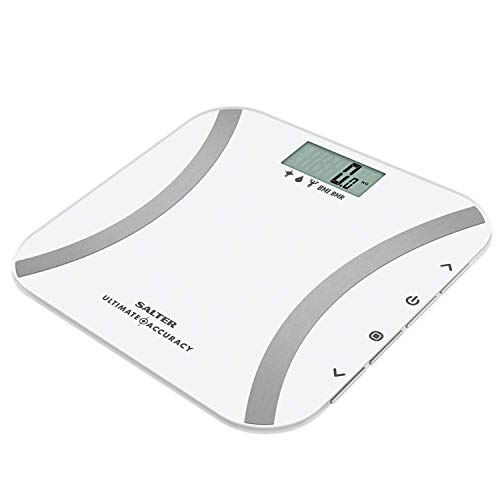 Salter 9173 WH3R Báscula de baño analítica, memoria para 12 usuarios, peso en incrementos de 50 g, modo atleta, garantía de 15 años, Blanco