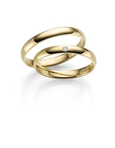 RJ 333 Gold Trauringe in Gelbgold Paarpreis inkl 1 Stein - poliert