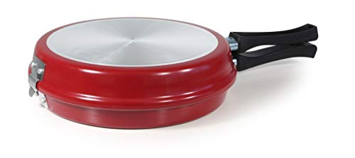 MGE - Omelette Pan - Tortilla Pan - Double Omelette Frying Pan - Non Stick Coating - 24 cm - Red