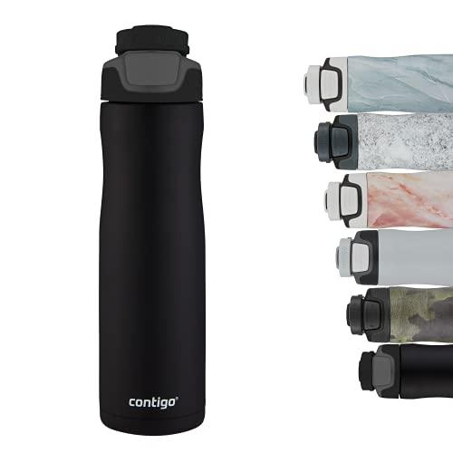Contigo Autoseal Chill Botella de agua de acero inoxidable con tecnología Autoseal, aislada mantiene las bebidas frías hasta 28 horas, sin BPA, Unisex-Adult, Negro (Matte Black), 720ml