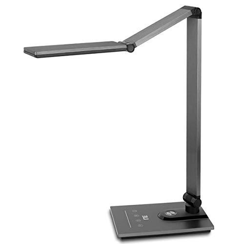 LED Schreibtischlampe, Lepro 18W Metall Tageslichtlampe, Touch-Control Tischlampe mit Timmer- und Speicherfunktion, Dimmbare Büro Leuchte mit USB-Anschluss, augenschonende LED,Einstellbare Helligkeit