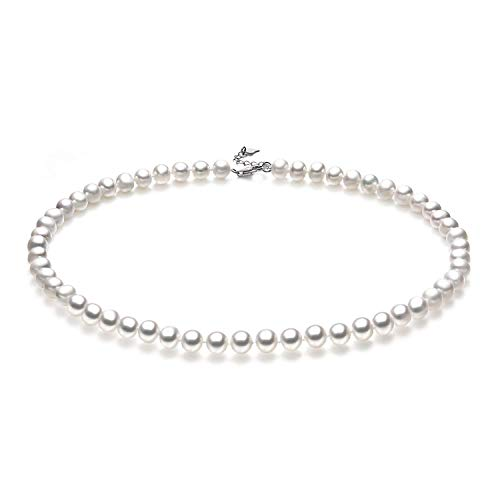 White Freshwater Cultured Pearl Necklace for Women in 18 Inch Princess Length