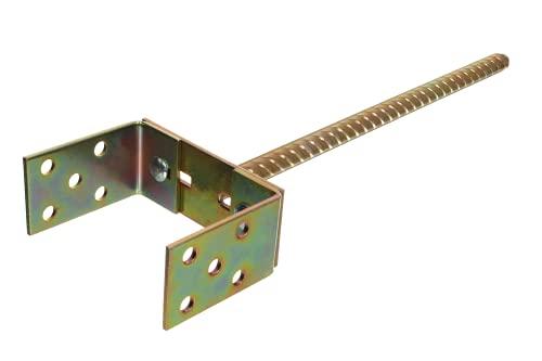 Pfostenträger U-Form mit Betonanker lang 400 mm verstellbarer Sockel 0-160 mm dicker Stahl 4 mm, verzinkt