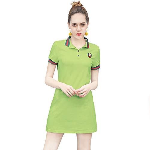 YXLUOKY Women's Casual Polo Dress Embroidered Badge Stretch Cotton Mini Short Sleeve Polo Shirt Golf Shirt (Large, Light Green)