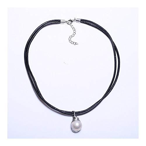 AdorabFruit Vorhanden Anhänger Form Gourd 15 mm Perle Anhänger Double Loop Schwarze Lederschnur to Send My Mother (Color : White, Size : 45cm)