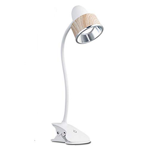 Billaew - Lámpara de escritorio LED sencilla con pinza, brillo ajustable, 3 niveles de brillo mediante puerto USB