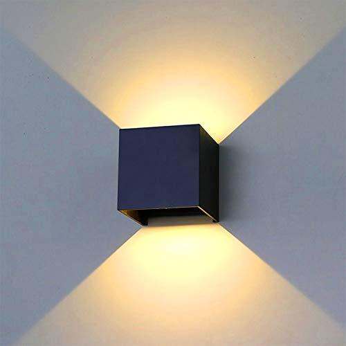 LED Wandleuchten Interior LED Wandlampe exterior 20W Außenlampe Wandlampe hacia arriba y abajo Einstellbarer Lichtstrahl 3000K Warmweiß Außenwandleuchte IP65 estanco (negro)