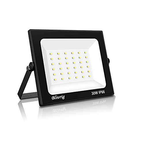 foco led exterior,Blivrig 30W LED Foco Exterior,3000LM Foco Led de alto brillo,IP66 Proyector Foco LED,Led Foco Exterio para Patio, Camino, Jardín (Blanco frio, 30W)