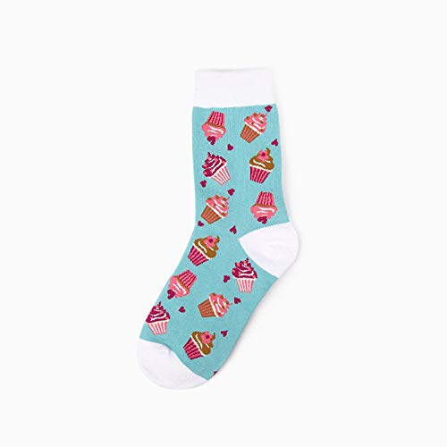Socken Bunt,3 Paar Frühling Und Sommer Blaue Socken Mode Einfache Kuchen Muster Baumwolle Atmungsaktive Bequeme Rohr Weibliche Socken Baumwollsocken Personalisierte Kleidung Accessoires Geschenk