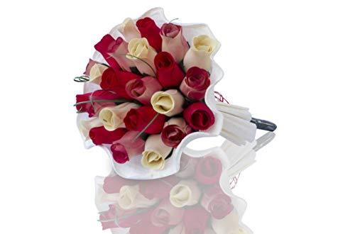 Rosenstrauß aus Holz, verschiedene Farben für jeden Anlass rot / weiß