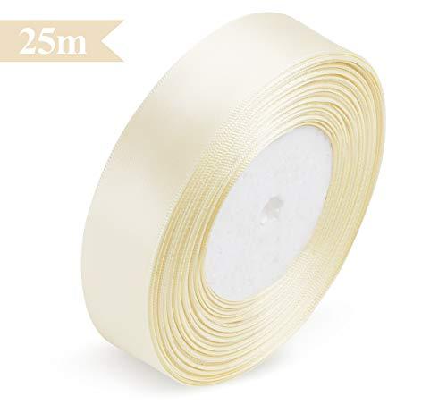 ABSOFINE Satinband Geschenkband 25m x 25mm Doppelsatinband Beige Schleifenband Hochzeit Dekoband Geschenkband Antennenband