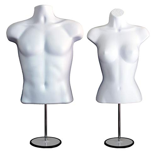 White Male + Female Mannequin Torso Set, Dress Form Hollow Back Body T-Shirt Display, w/Metal Stand for Counter Top by DISPLAYTOWN for Craft Shows, Photos or Design, S-M Sizes.