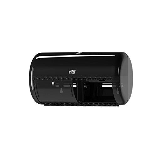 Tork 557008 Dispensador de doble rollo de papel higiénico convencional Elevation / Sistema T4 / Negro