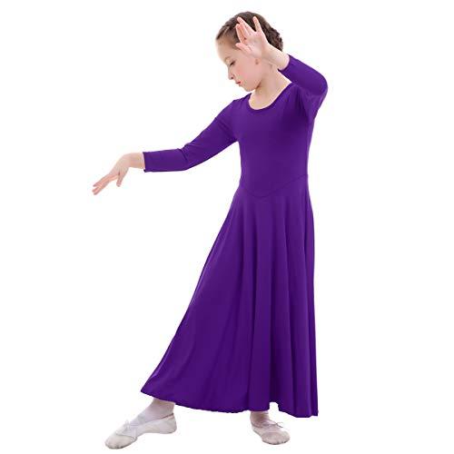 Vestidos Mujer Casual Litúrgico Manga Larga Leotardo Gimnasia Vestido de Ballet Flamenco Maillot Niña Violeta 13-14 Años